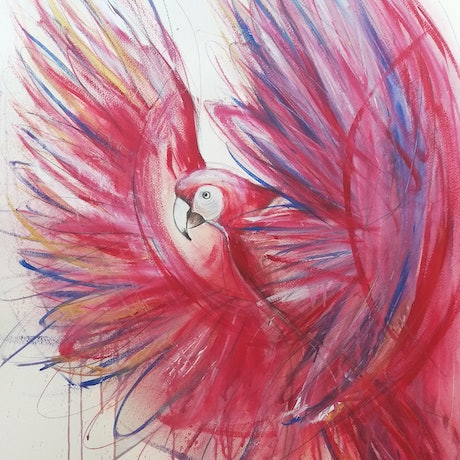(CreativeWork) Flight of the Red Macaw (Original Art-Bird Painting on Paper) by Leni Kae. Mixed Media. Shop online at Bluethumb.