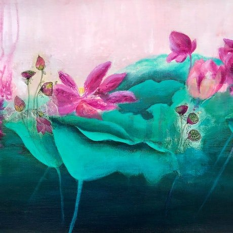(CreativeWork) Ebb & Flow of the Lotus 4. by Donna Maloney. Mixed Media. Shop online at Bluethumb.