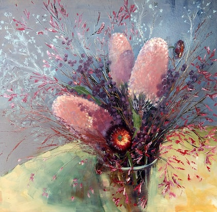 (CreativeWork) Pink Banksias by Andriane Georgiou. Oil Paint. Shop online at Bluethumb.