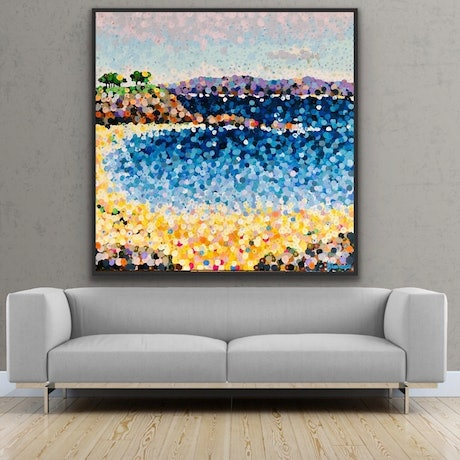 (CreativeWork) Bar Mouth beach 2 122x122 framed large textured beach abstract on linen by Sophie Lawrence. Acrylic Paint. Shop online at Bluethumb.