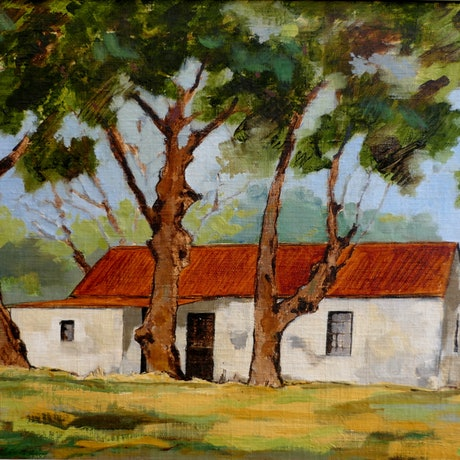 (CreativeWork) House Among the Trees by David Lister. Oil Paint. Shop online at Bluethumb.