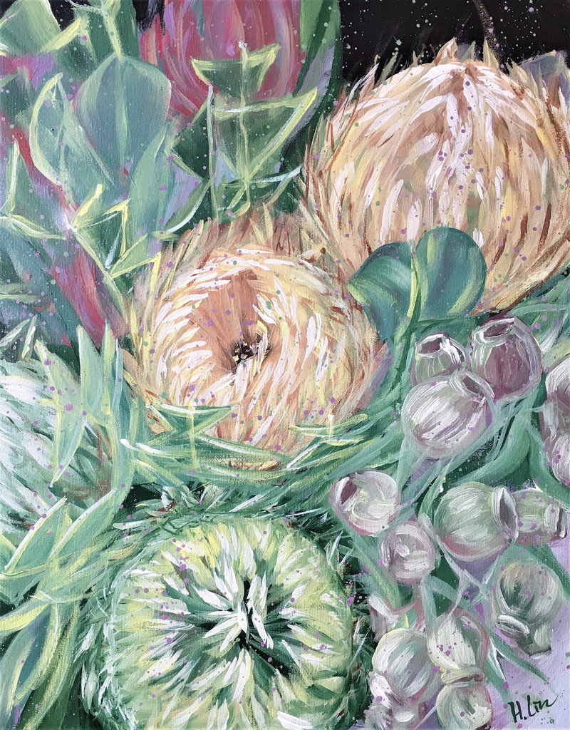(CreativeWork) Forever Be My Always - Gumnuts, Banksia baxteri and Leucadendron - Ready To Hang by HSIN LIN. Acrylic Paint. Shop online at Bluethumb.