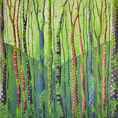 (CreativeWork) Secret Forest by Ornella Imber. Acrylic Paint. Shop online at Bluethumb.
