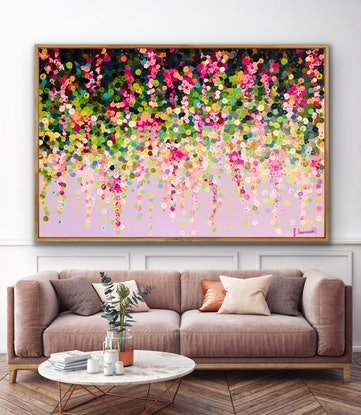 (CreativeWork) Pink wisteria 153x102  framed large textured abstract Flowers by Sophie Lawrence. Acrylic Paint. Shop online at Bluethumb.