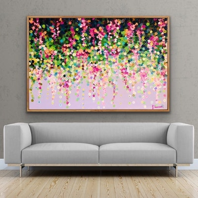 (CreativeWork) Pink wisteria 152x102 framed large textured abstract  by Sophie Lawrence. Acrylic Paint. Shop online at Bluethumb.