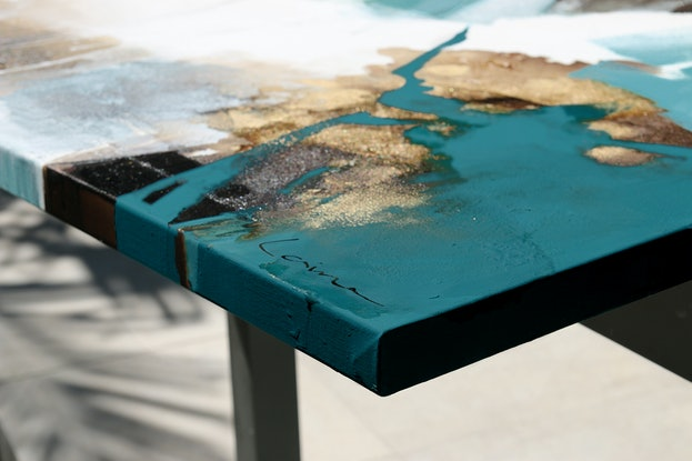 (CreativeWork) Alessio - square, teal grey gold abstract by Stephanie Laine. Acrylic Paint. Shop online at Bluethumb.