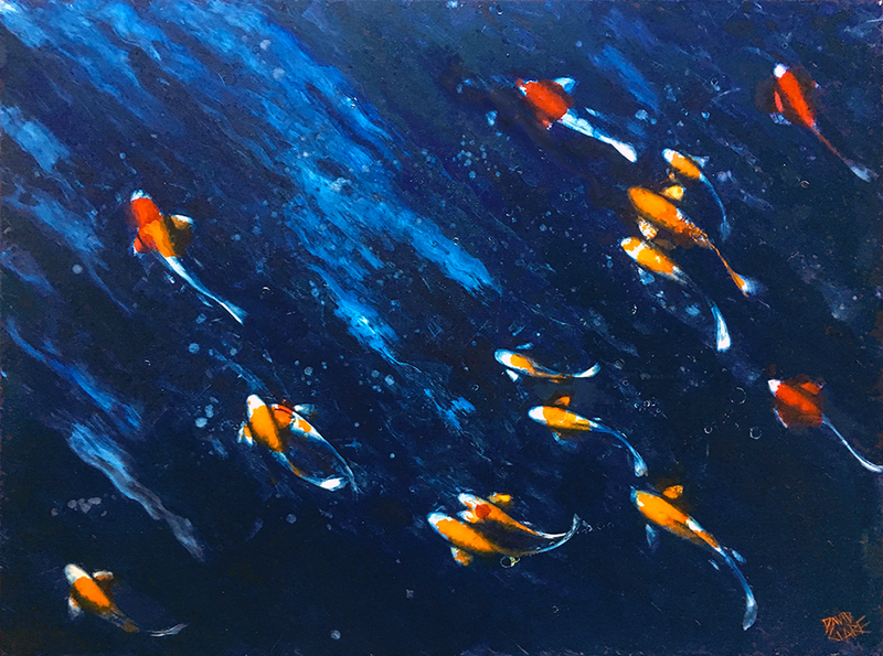 (CreativeWork) Koi In Blue by David Clare. Oil Paint. Shop online at Bluethumb.