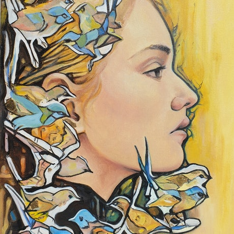 (CreativeWork) Golden Birdsong by Sherry McCourt. Oil Paint. Shop online at Bluethumb.