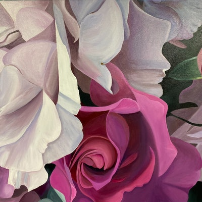 (CreativeWork) A Vision in Pink by Rosanne Steele. Acrylic Paint. Shop online at Bluethumb.