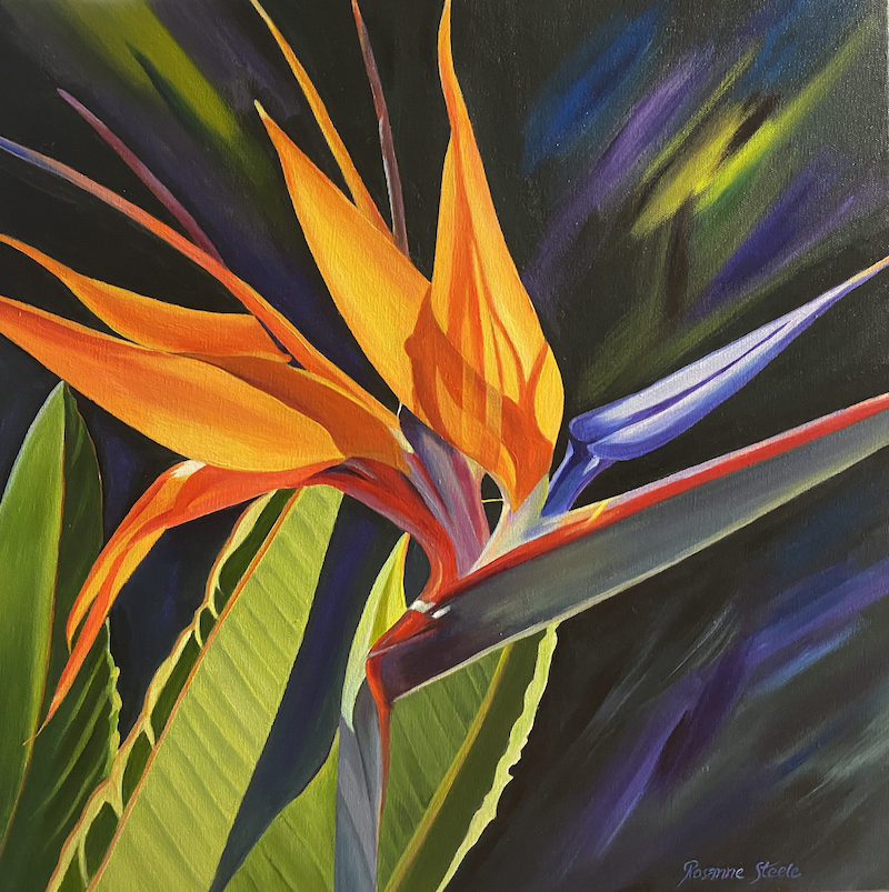 (CreativeWork) BIRD of PARADISE by Rosanne Steele. Acrylic Paint. Shop online at Bluethumb.