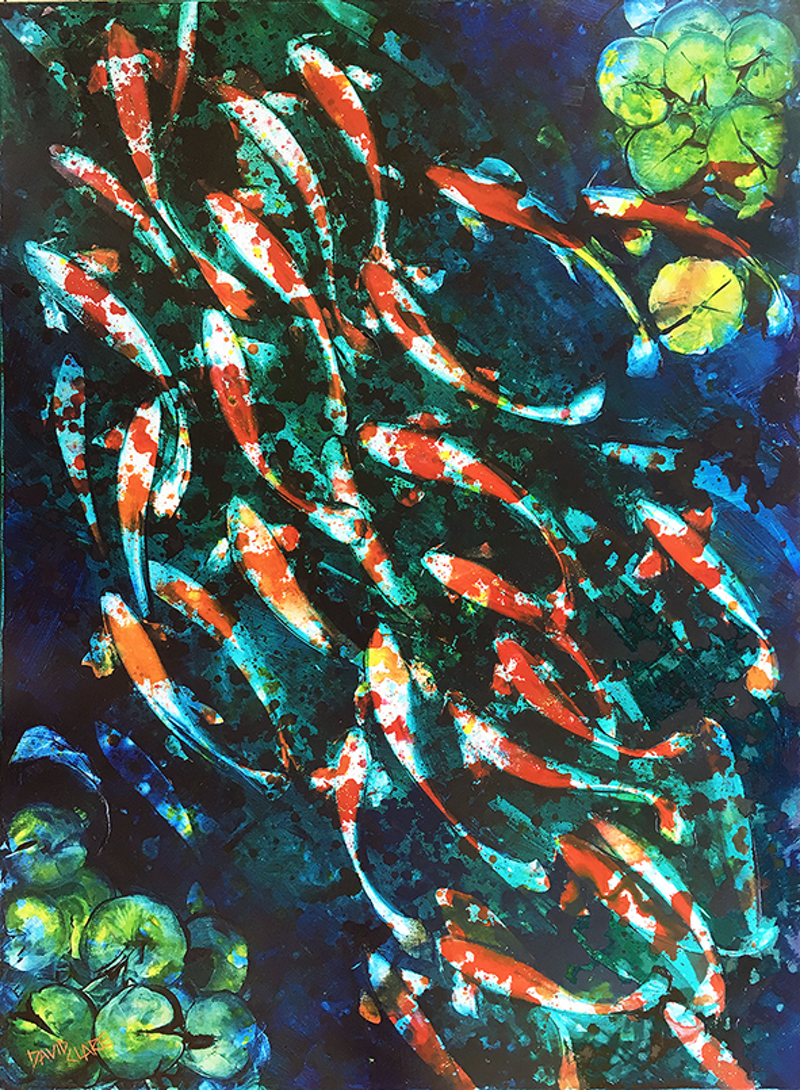 (CreativeWork) Koi With Lily's by David Clare. Oil Paint. Shop online at Bluethumb.