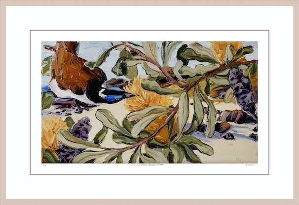 (CreativeWork) Blue-Faced Honeyeater, Banksia and Beach Ed. 3 of 100 by Steve Tyerman. Print. Shop online at Bluethumb.
