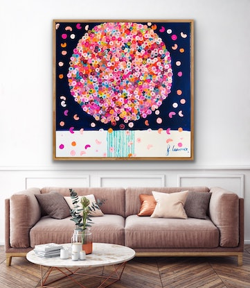 (CreativeWork) Sunday posie 102x102 framed large abstract  by Sophie Lawrence. Acrylic Paint. Shop online at Bluethumb.