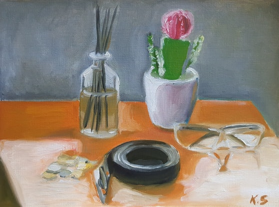 (CreativeWork) Still life with cactus by Kevin Song. Oil Paint. Shop online at Bluethumb.