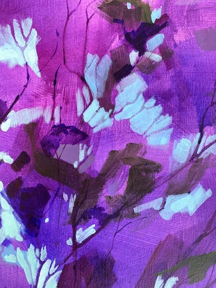 (CreativeWork) Purple Rain by Kate Gradwell. Acrylic Paint. Shop online at Bluethumb.