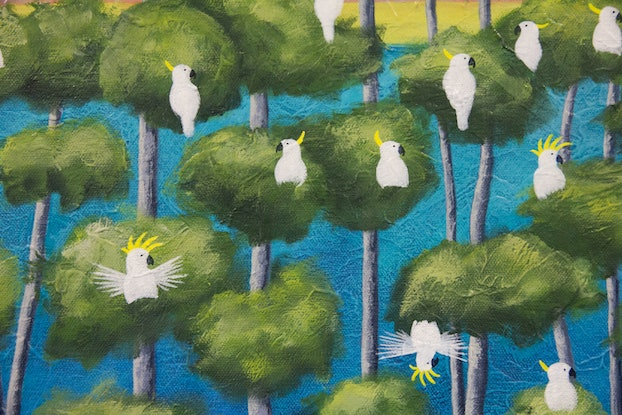 (CreativeWork) Cockatoos on Blue by Kate Graham. Acrylic Paint. Shop online at Bluethumb.