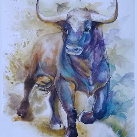 (CreativeWork) BULL III by Doudou Huang. Watercolour Paint. Shop online at Bluethumb.