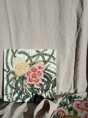 "(CreativeWork) ""WILDFLOWER BOUQUET 1"" by Emily Day. Acrylic Paint. Shop online at Bluethumb."