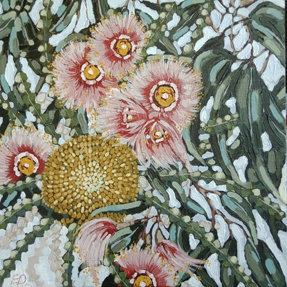 """(CreativeWork) """"WILD FLOWER BOUQUET 3"""" by Emily Day. Acrylic Paint. Shop online at Bluethumb."""
