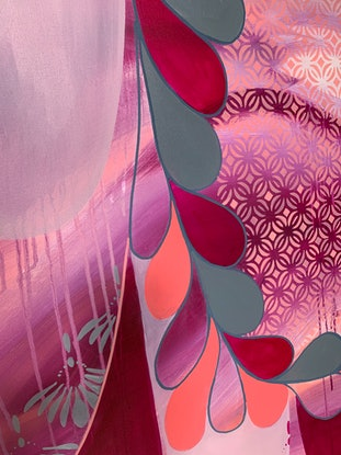 (CreativeWork) Mountains in Magenta  by Rebecca Warr. Acrylic Paint. Shop online at Bluethumb.