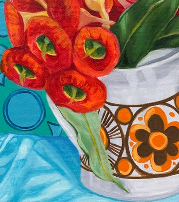 (CreativeWork) Retro Daisy and the Orange gum blossom by Alicia Cornwell. Oil Paint. Shop online at Bluethumb.