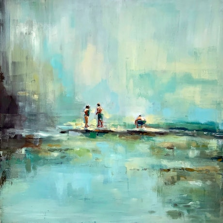 (CreativeWork) By The River by Sara Roberts. Oil Paint. Shop online at Bluethumb.