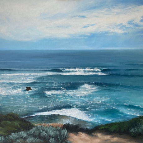 (CreativeWork) Keep Calm - Portsea Seascape by maria radun. Oil Paint. Shop online at Bluethumb.