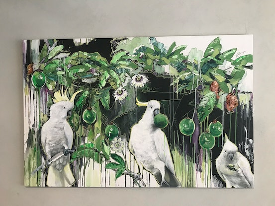 (CreativeWork) Cockatoos with passion fruit by Kirsten Button. Acrylic Paint. Shop online at Bluethumb.