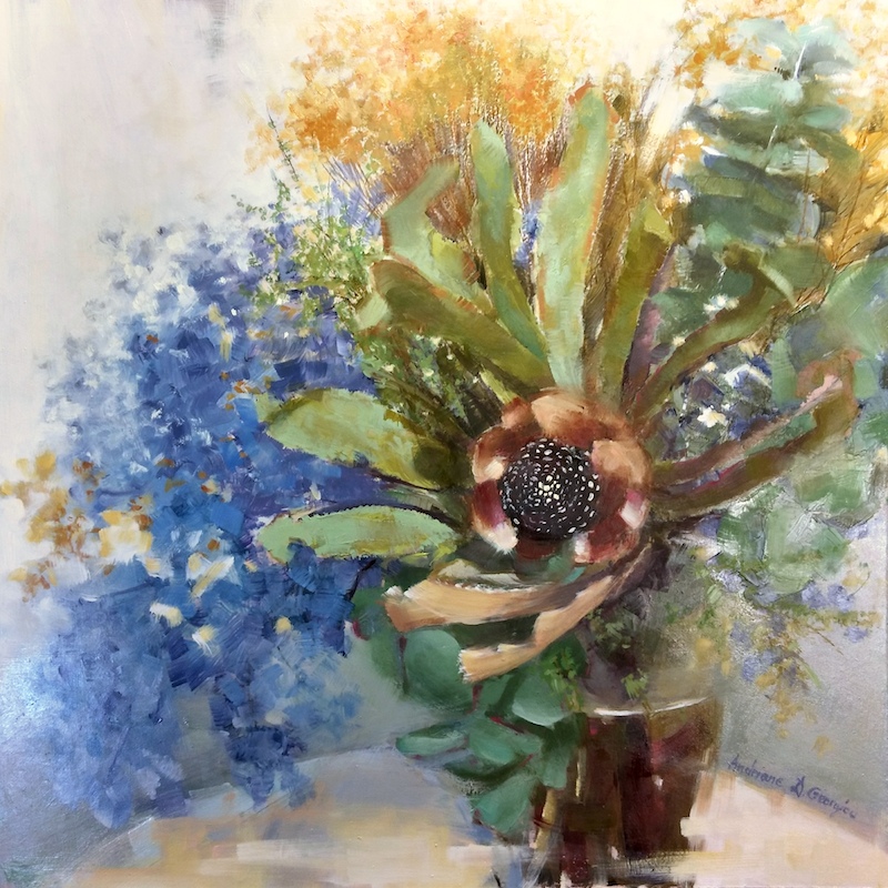 (CreativeWork) Native flowers by Andriane Georgiou. Oil Paint. Shop online at Bluethumb.