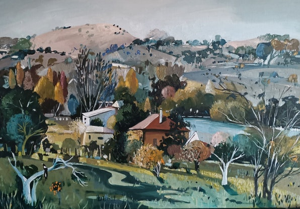 (CreativeWork) Australian  landscape - Autumn by Susan Trudinger. Acrylic Paint. Shop online at Bluethumb.