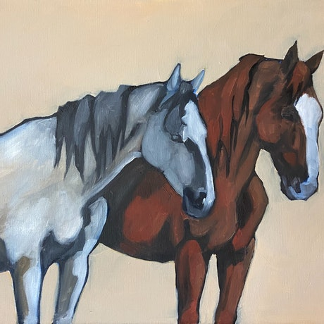 (CreativeWork) Grey and Chestnut  by Antoinette Stokell. Oil Paint. Shop online at Bluethumb.
