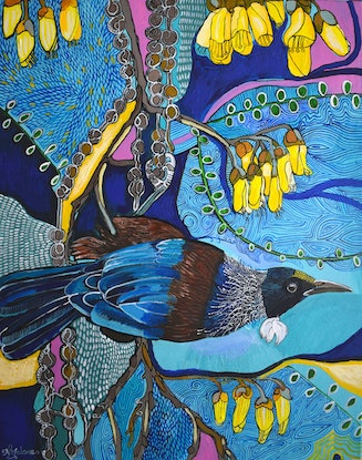 (CreativeWork) Commission for Leanne-New Zealand Tui Bird by Naomi Malone. Acrylic Paint. Shop online at Bluethumb.