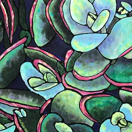 (CreativeWork) Succulent by Ingrid Russell. Acrylic. Shop online at Bluethumb.
