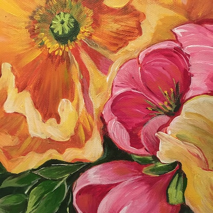 Explosion of vibrant flowers, impressionist style