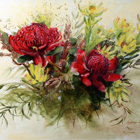 (CreativeWork) Bouquet with Waratahs by Andriane Georgiou. Oil Paint. Shop online at Bluethumb.