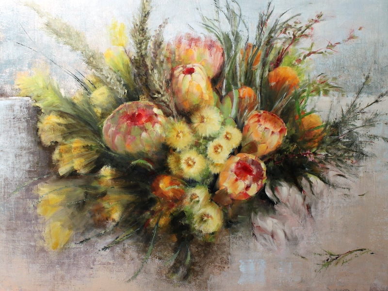 (CreativeWork) Bouquet with Pink Proteas by Andriane Georgiou. Oil Paint. Shop online at Bluethumb.