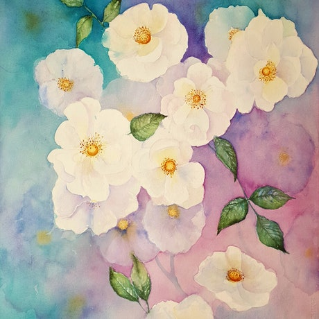 (CreativeWork) Smell The Roses by Lucinda Leveille. Watercolour Paint. Shop online at Bluethumb.