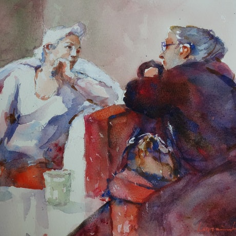 (CreativeWork) A Good Chinwag by Lorraine Lewitzka. Watercolour Paint. Shop online at Bluethumb.
