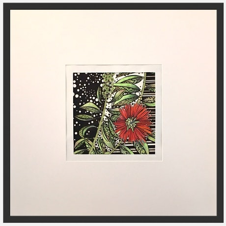 (CreativeWork) Red Flowering Bottlebrush Single by Tania Daymond. Drawings. Shop online at Bluethumb.