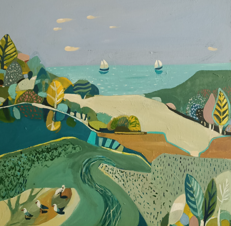 (CreativeWork) Abstract Landscape - Seaside Trees by Susan Trudinger. Acrylic Paint. Shop online at Bluethumb.
