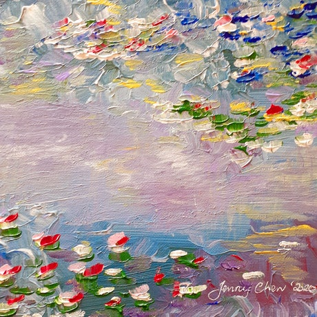 (CreativeWork) Monet's Water Lilies - Mini by Jenny Chen. Acrylic Paint. Shop online at Bluethumb.