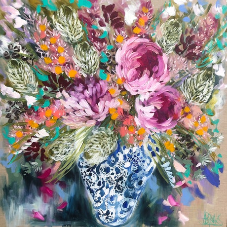 (CreativeWork) Peony and golden banksia  by Amanda Brooks. Acrylic Paint. Shop online at Bluethumb.