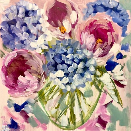 (CreativeWork) Count your blessings bouquet  by Amanda Brooks. Acrylic Paint. Shop online at Bluethumb.