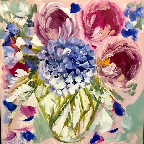 (CreativeWork) Count your blessings bouquet 2 by Amanda Brooks. Acrylic Paint. Shop online at Bluethumb.