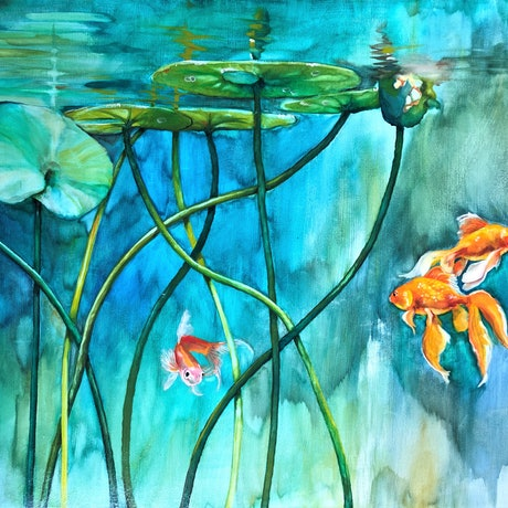 (CreativeWork) Lily Pond by Wilna ten Cate. Oil Paint. Shop online at Bluethumb.
