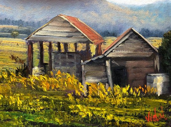 (CreativeWork) Sheds near Lakes Entrance, Victoria - Oil on archival canvas board  by Christopher Vidal. Oil Paint. Shop online at Bluethumb.