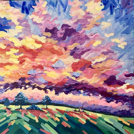 (CreativeWork) Ardlethan Skies - The Riverina Series by Maggie Deall. Acrylic Paint. Shop online at Bluethumb.
