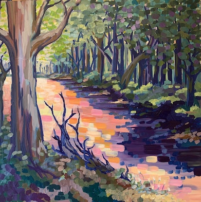 (CreativeWork) Down by the river - The Riverina Series by Maggie Deall. Acrylic Paint. Shop online at Bluethumb.
