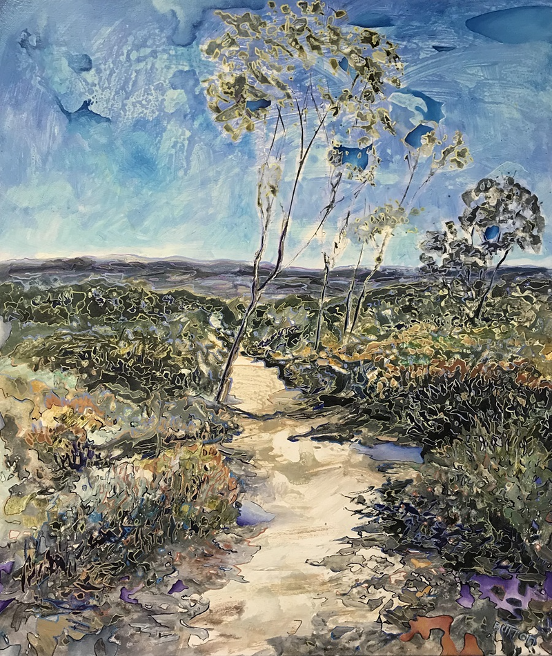 (CreativeWork) Braidwood Blues by Kirsten Button. Oil Paint. Shop online at Bluethumb.