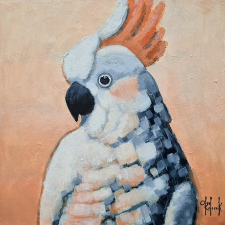 (CreativeWork) Citron-Crested White Cockatoo - AUSTRALIANA by Olga Kolesnik. Acrylic Paint. Shop online at Bluethumb.